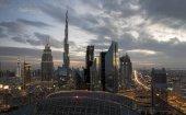 Dubai skyline at sunset, beautiful city background
