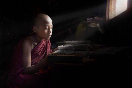 Yangon, Myanmar - 16 November, 2014: young novice monk studying next to a window