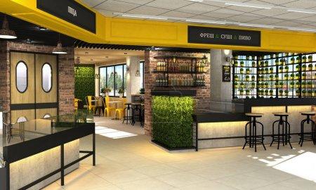 3d visualización de la tienda de alimentos con una cafetería y bar en el interior. El interior en el estilo loft