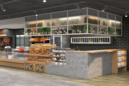 Photo for 3D visualization of the interior of the grocery store. Design in loft style - Royalty Free Image