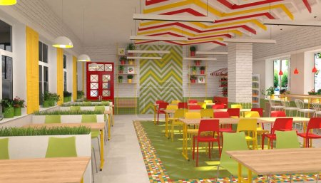 Interior de la cantina infantil de la escuela. Visualización 3D del comedor para escolares .