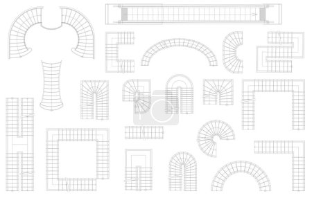Illustration for Graphic set of stairs in different forms. Top view. Vector illustration. Isolated on white background - Royalty Free Image