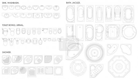 Illustration for A set of equipment for the bathroom. Toilet bowl,urinal, sink, bath, jacuzzi, shower.Top view. Vector unshaded drawing - Royalty Free Image