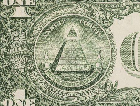 Photo pour Grand sceau - nous un dollar bill gros plan macro, billets de banque de 1 usd - image libre de droit