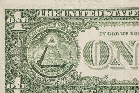 Photo pour Billet d'un dollar US macro, billet de 1 usd - image libre de droit