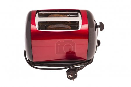 Red toaster and two slices of bread isolated on wh...
