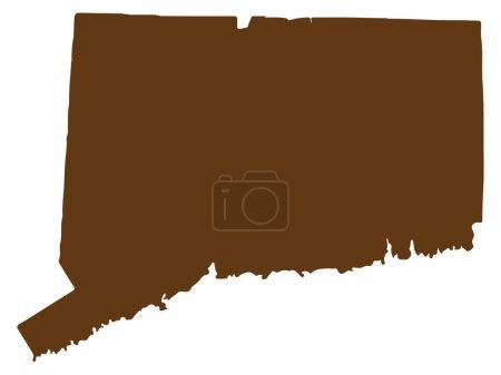 Connecticut Map silhouette Vector illustration Eps...