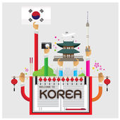 vector welcome korea Seoul lamp cozy arm and hand