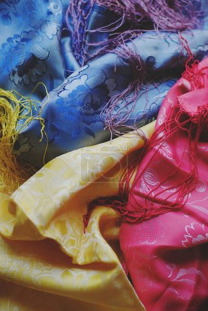 Colorful fabric blue pink yellow
