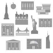 Set of New York icon symbol emblem