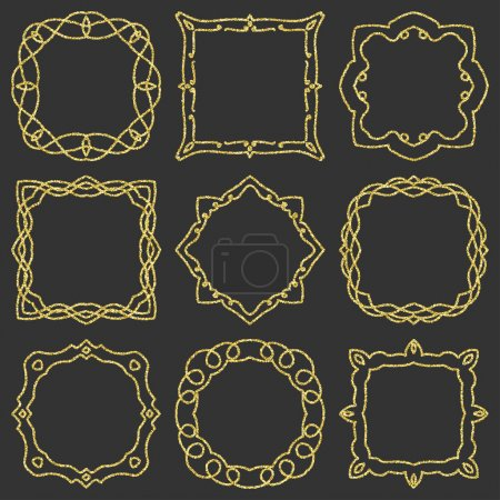 Doodle set hand drawn element for frames, logo, yoga, ethnic design. Gold, glitter, glitter. Set No. 11 of 9 items. Vector illustration.