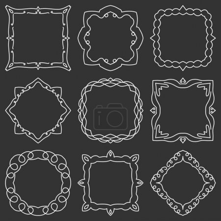 Doodle set hand drawn element for frames, logo, yoga, ethnic design. Set No. 16 of 9 items. Vector illustration.