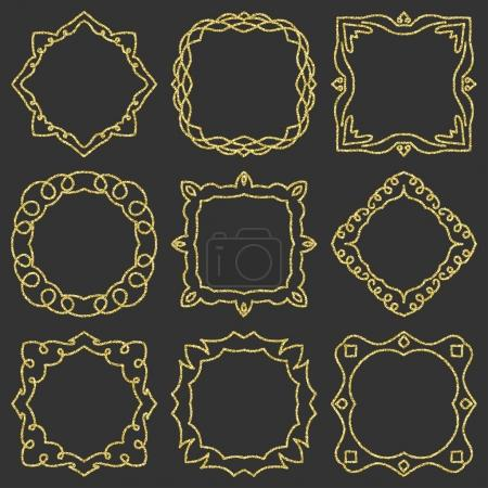 Doodle set hand drawn element for frames, logo, yoga, ethnic design. Gold, glitter, glitter. Set No. 8 of 9 items. Vector illustration.