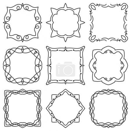 Doodle set hand drawn element for frames, logo, yoga, ethnic design. Set No. 2 of 9 items. Vector illustration.