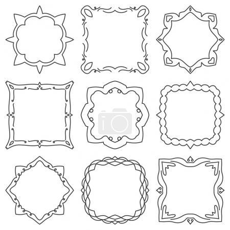 Doodle set hand drawn element for frames, logo, yoga, ethnic design. Set No. 17 of 9 items. Vector illustration.