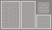Set decorative panels laser cut Repeating geometric squares pattern The ratio 2:3 1:2 1:1 seamless Vector illustration