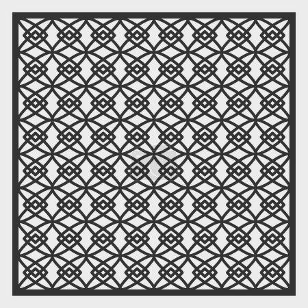 Illustration pour Un modèle pour la découpe laser. Un panneau carré avec un motif géométrique répétitif. Calandre décorative. Pochoir à panneaux sculptés pour découper du papier, du bois, du métal. Illustration vectorielle . - image libre de droit