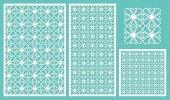 Set decorative panels laser cut National geometric pattern The ratio 2:3 1:2 1:1 seamless Vector illustration