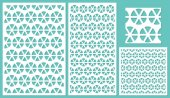 Set of decorative panels laser cutting a wooden panel Round geometric repeating pattern of shared lines The ratio 2:3 1:2 1:1 seamless Vector illustration