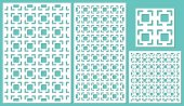 Set of decorative panels laser cutting a wooden panel Modern elegant square geometric pattern allover The ratio 2:3 1:2 1:1 seamless Vector illustration