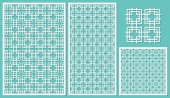 Set of decorative panels laser cutting Square linear geometric pattern allover The ratio 2:3 1:2 1:1 seamless Vector illustration