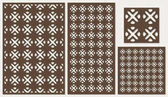Set of decorative panels laser cutting a wooden panel National ethnic allover pattern in square shapes The ratio 2:3 1:2 1:1 seamless Vector illustration