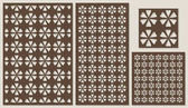 Set of decorative panels laser cutting