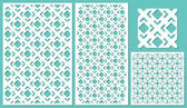 Set of decorative panels laser cutting a wooden panel Modern elegant square diagonal geometric pattern allover The ratio 2:3 1:2 1:1 Vector illustration