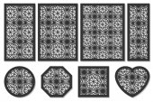 Set of cards to cut Vector panels for laser cutting The ratio 1:2 2:3 3:4 1:3 round octagon square heart Cut silhouette with geometric patterns Used for openwork partitions panels printin
