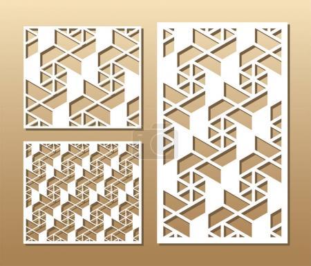 Illustration pour Découpez la carte. Panneau vectoriel découpé au laser. Silhouette découpée avec motif géométrique. Une image adaptée à l'impression, la gravure, le papier découpé au laser, le bois, le métal, la fabrication de pochoir . - image libre de droit