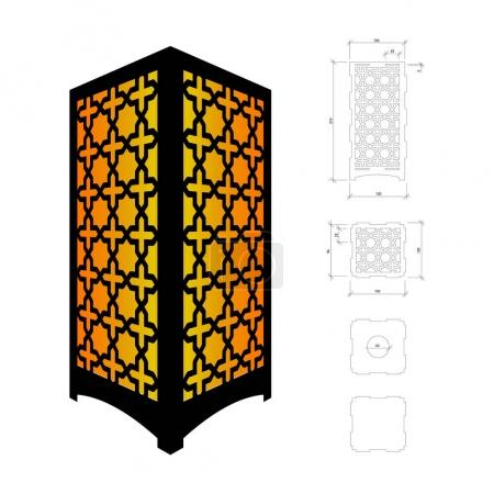 Illustration pour Modèle découpé pour lampe, bougeoir, lanterne ou lustre (contreplaqué 3 mm). Boîte d'ombre au design géométrique oriental. Schéma convient pour une découpe ou une impression laser - image libre de droit