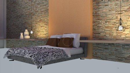 Modern and loft bedroom interior-3d rendering