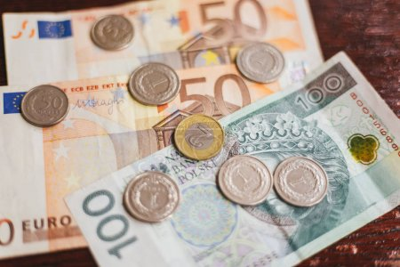 Money on the table, euro and coins