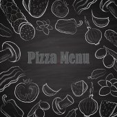 Pizza menu titul s bílou ruku nakreslené ingredience na tabuli