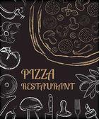 Pizza restaurace menu přední stránky šablony s bílou ručně kreslenou