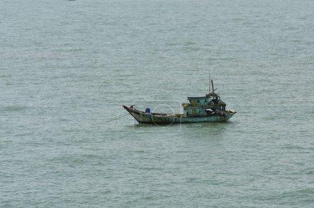 Fisherman's boat at anchored in the bay at Vung Tau, Vietnam