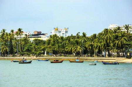 Vung Tau, Vietnam - January 27, 2018: Front beach in Vung Tau city, Vietnam.