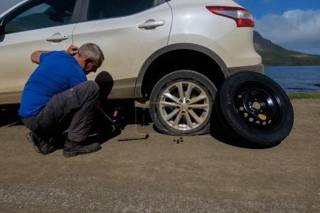 The Netherlands October 15, 2017 man is fixing the car