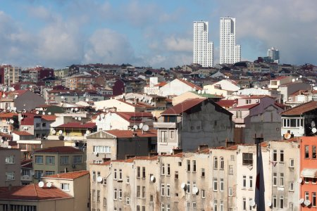 View of old houses and tiled roofs of Istanbul in the Beyoglu district.