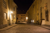 Night view of the old buildings in the historical part of Tallinn.