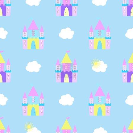 Fairytale castle seamless pattern vector...