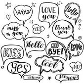 Set of hand drawn think and talk speech bubbles with love message greetings and sale ad