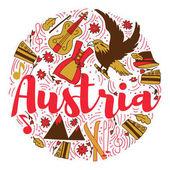 Austria Landmark Travel and Journey Infographic Vector Design Austria country design template