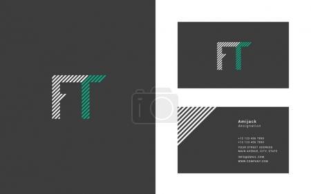 Illustration pour Illustration vectorielle conception de Joint lettres FT pour modèle de cartes - image libre de droit