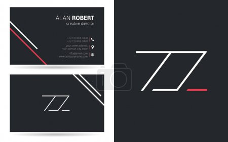 logo design of ZZ letters, stroke style font, business card template
