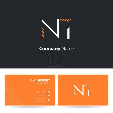 multi-color logo NT, business card template