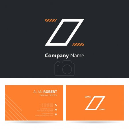 Black and orange logo design and business card template with wavy letters Zz