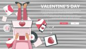 Valentine's day banner for websites Girl sitting on wooden floor and holding lap top in her lap Flat vector illustration