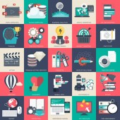 Business technology and finances icon set for websites and mobile applications and services Flat vector illustration