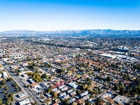 Foto de Foto de vista de ojo de pájaros de Silicon Valley en California - Imagen libre de derechos